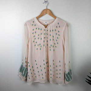Sundance Silk Embroidered Blouse Green Red Small